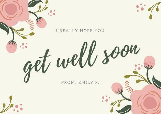 Pink & Green Floral Simple Get Well Soon Card - Templates by Canva