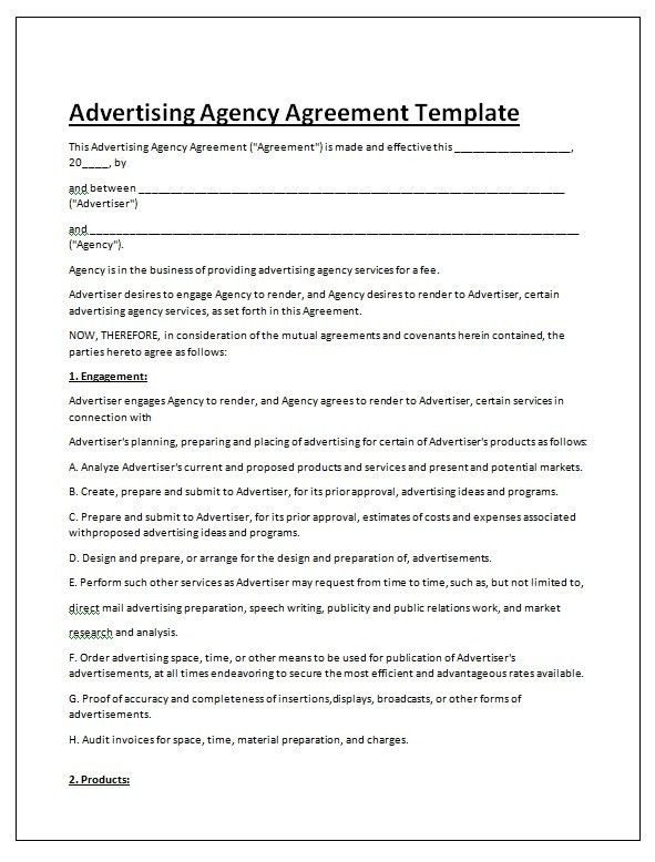 Blank Advertising contract template | Contract Templates