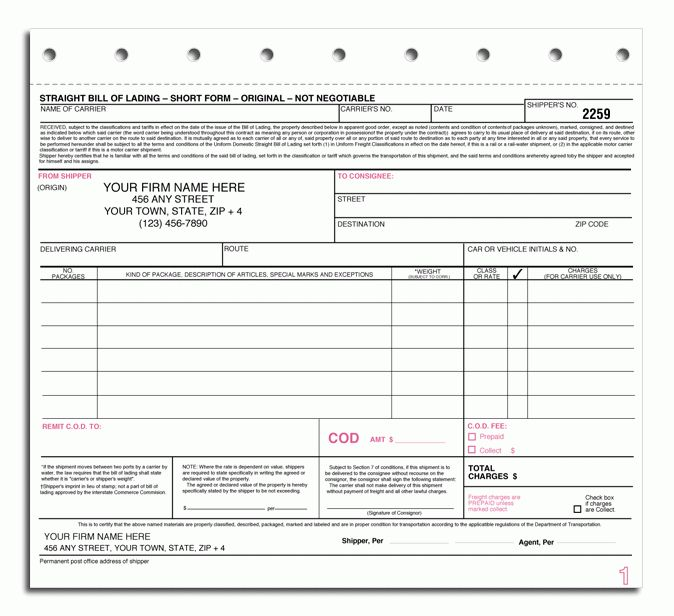 Standard Bills Of Lading Forms  Blank Bill Of Lading Short Form