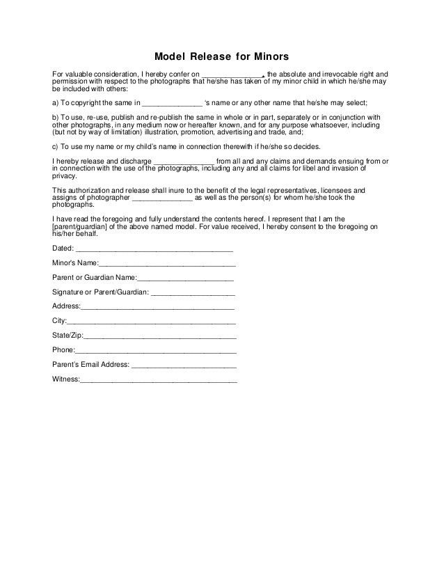 Generic Release Form. General Photo Release Form Photography ...