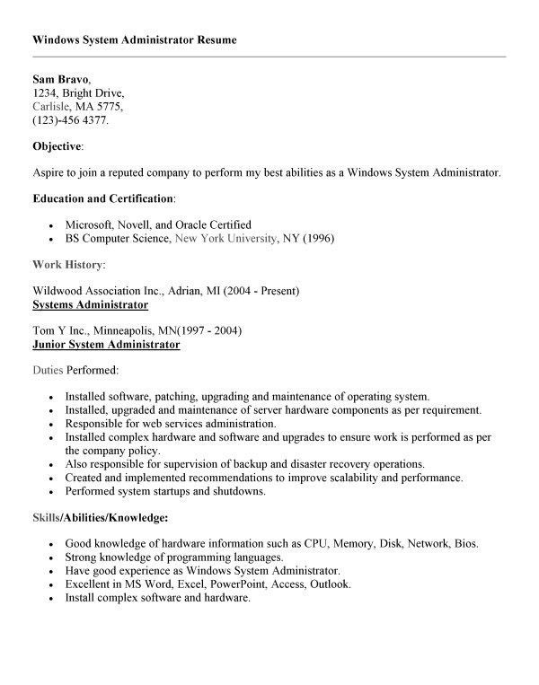 junior systems administrator resume sample resume junior system