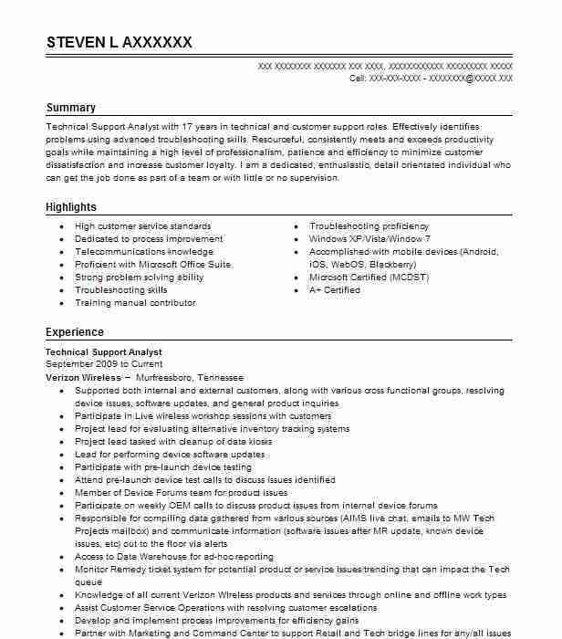 Best Technical Support Resume Example | LiveCareer