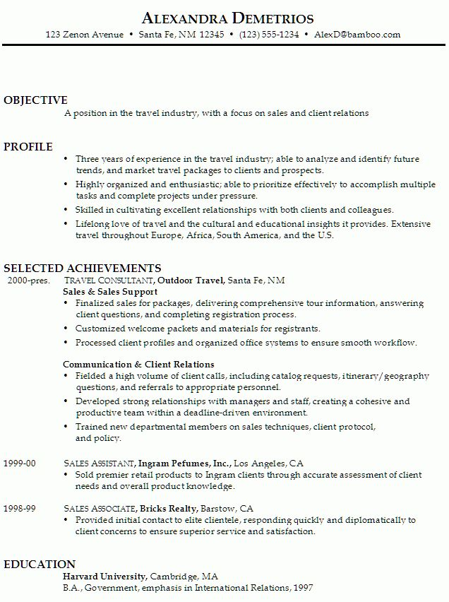 Resume for Sales and Client Relations - Susan Ireland Resumes