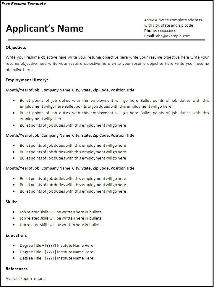 10 free resume templates microsoft word basic resume layouts ...