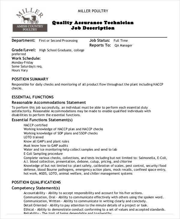Exceptional Quality Assurance Job Description   8+ Free PDF Documents Download .