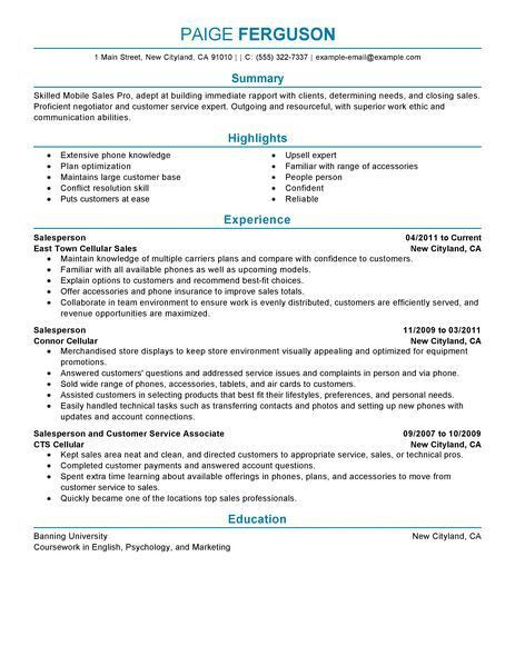 Best Mobile Sales Pro Resume Example | LiveCareer