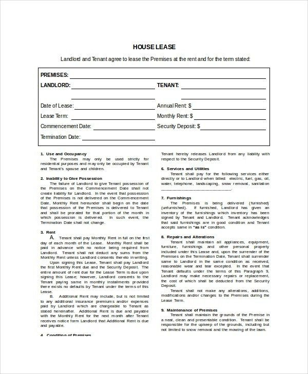 House Lease Template | rubybursa.com