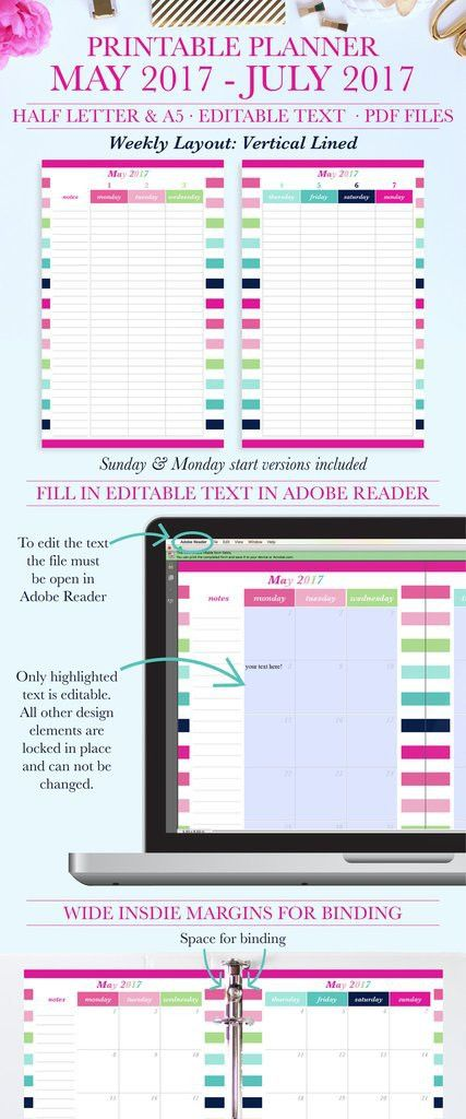 May 2017- July 2017 Printable Planner Trial: Vertical Lined, Half ...