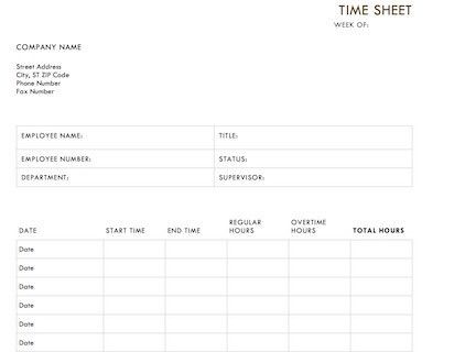 Timesheet Template - Free Download for Word, Excel and PDF