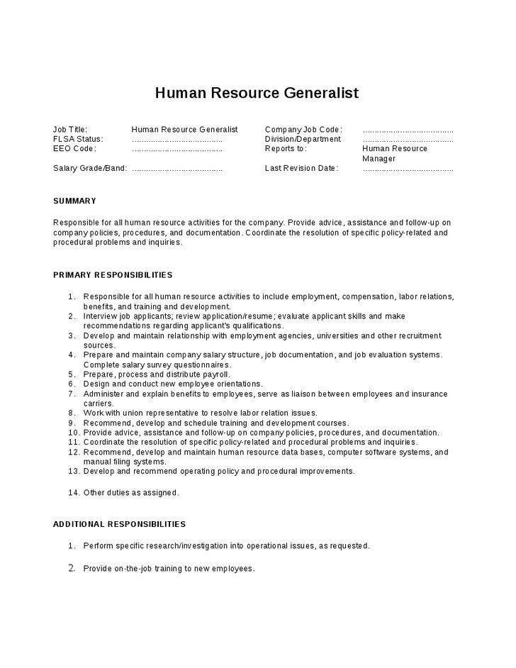 Human Resource Generalist Job Description - Hashdoc