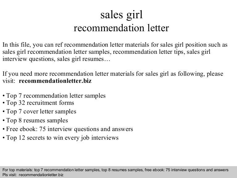 Sales girl recommendation letter