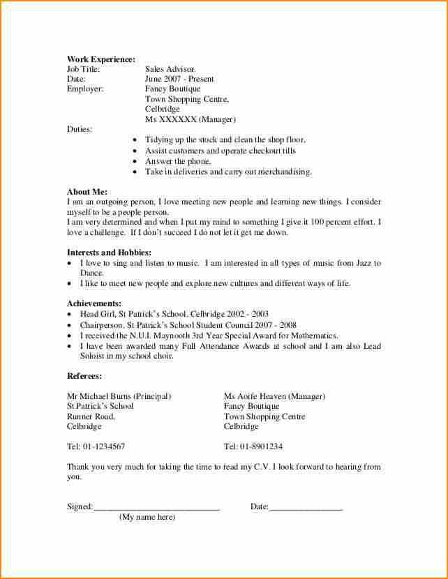 14+ cv template student first job - Basic Job Appication Letter