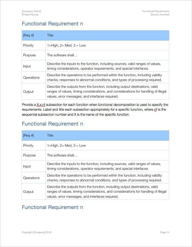 Functional Requirements Template (Apple iWork Pages)