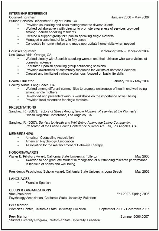 Curriculum Vitae Sample Graduate School | All business | Pinterest ...