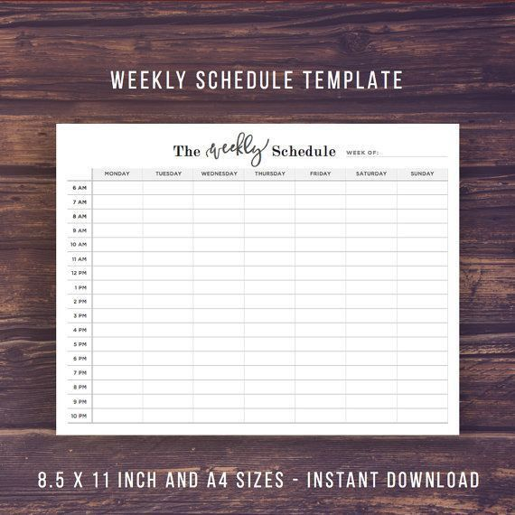 Weekly Schedule Printable Weekly Planner by PrintablePineapple ...