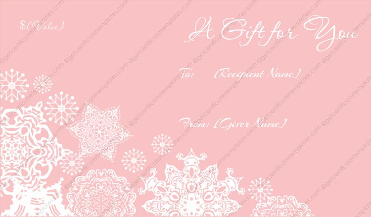 Flakes Christmas Gift Certificate Template