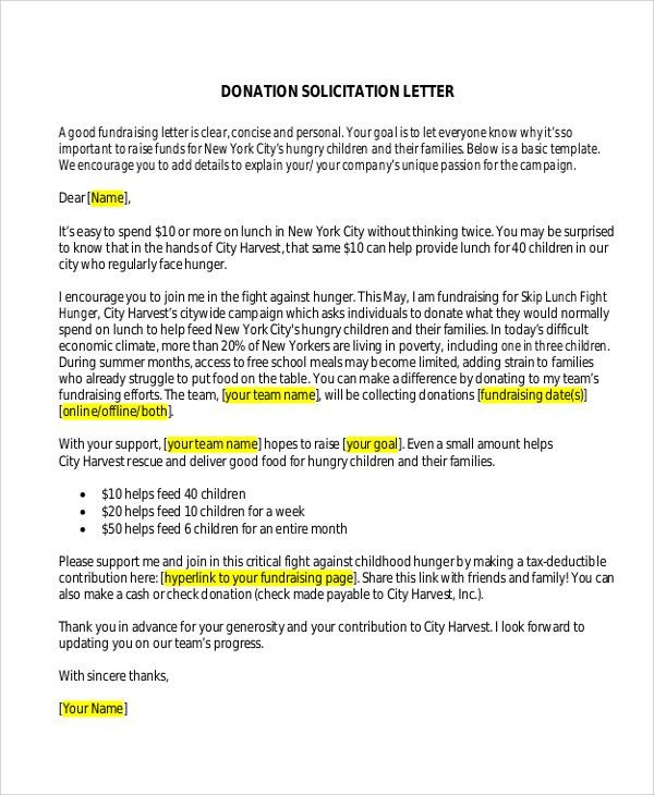 Sample Donation Letter   10+ Examples In Word, PDF