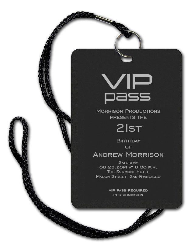 VIP Pass - Corporate Invitations by Invitation Consultants. (Item ...