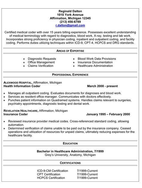 Impressive Idea Medical Coding Resume 5 Examples Resumes Medical ...