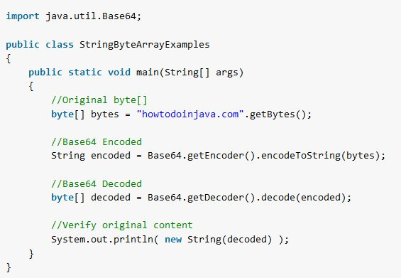 Java - Convert byte[] to String and String to byte[] - HowToDoInJava