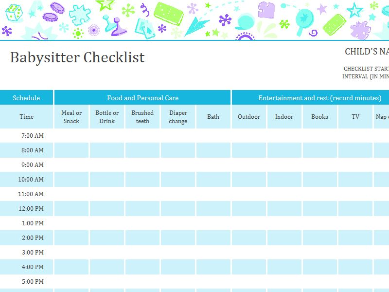Babysitter checklist with schedule - Office Templates