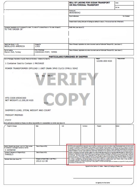 Received for Shipment Bill of Lading and Pre-printed Shipped Bill ...