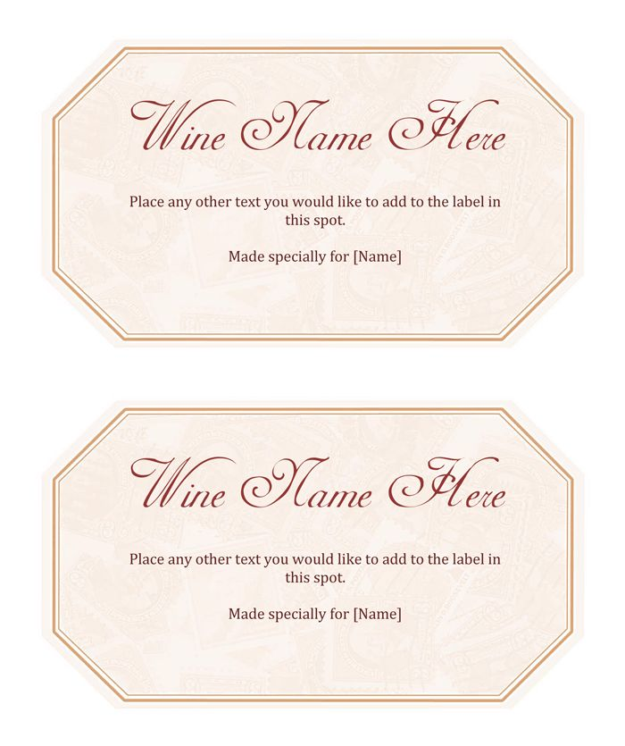 Wine Label Template - Make Your Own Wine Labels