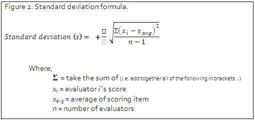 Standard deviation calculations in RFP evaluation scoring ...