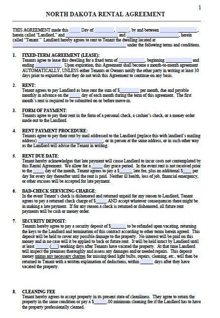 Free North Dakota Residential Lease Agreement Template – PDF – Word
