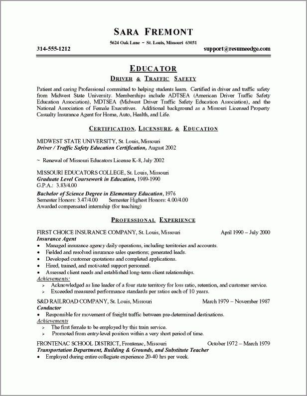 Resume Examples For Teachers With Experience Unforgettable