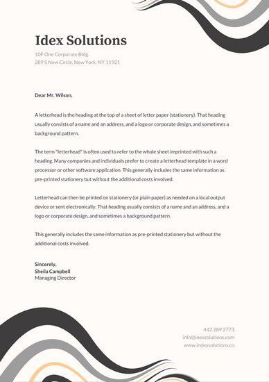 Letterhead Sample In Word. Grey Abstract Curves Professional ...