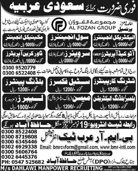 Tower Crane Operator Job, Al Fozan Group Job Saudi Arabia ...