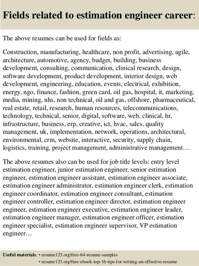 Download Estimation Engineer Sample Resume | haadyaooverbayresort.com