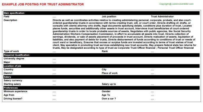 Trust Administrator Job Title Docs