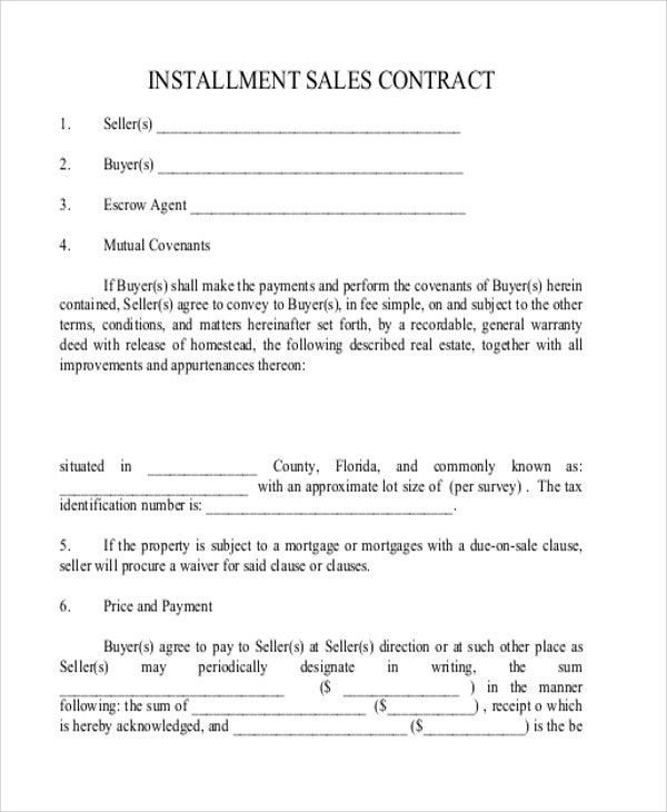 Sample Installment Sales Contract - 9+ Examples in Word, PDF