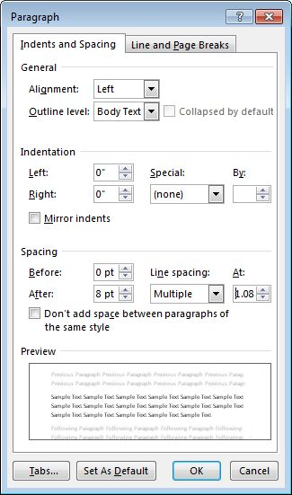 Change the line spacing in Word - Office Support