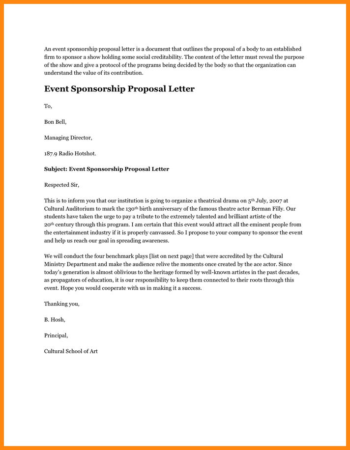 7+ sponsorship proposal letter | model resumed