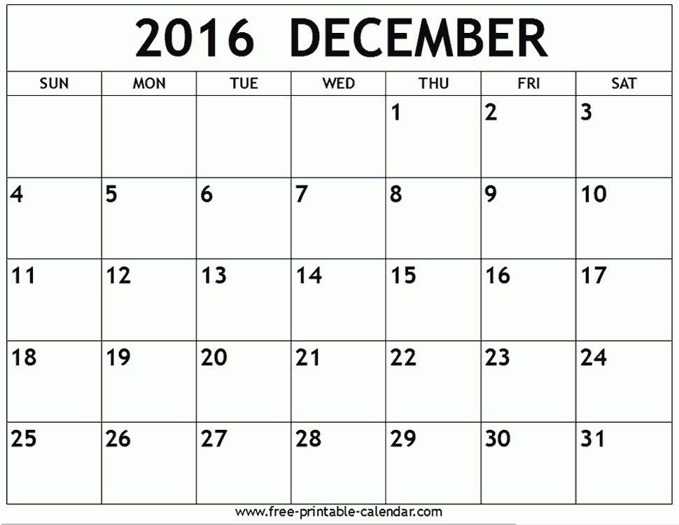 December 2016 Printable Calendar Templates | Free Printable Calendar