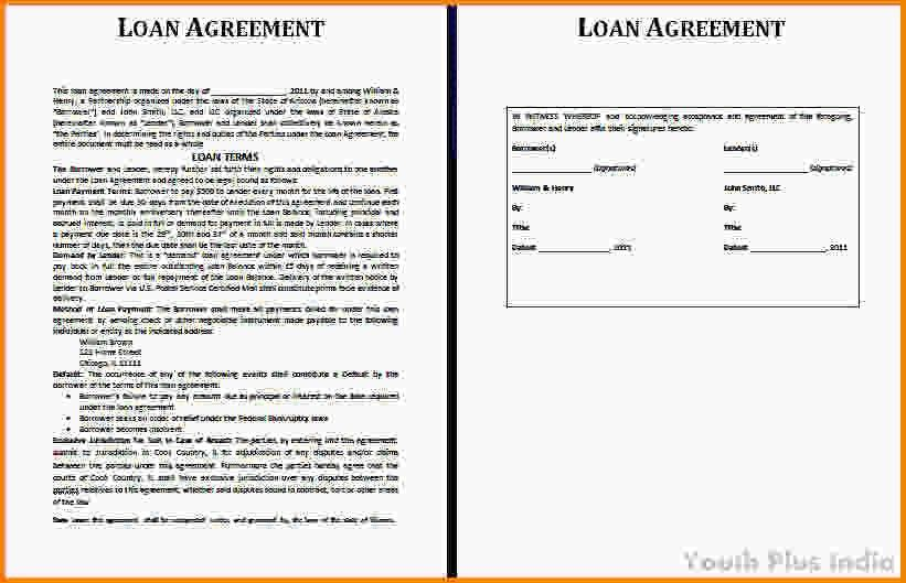 Free Loan Agreement Template.Free Personal Loan Agreement In Word ...