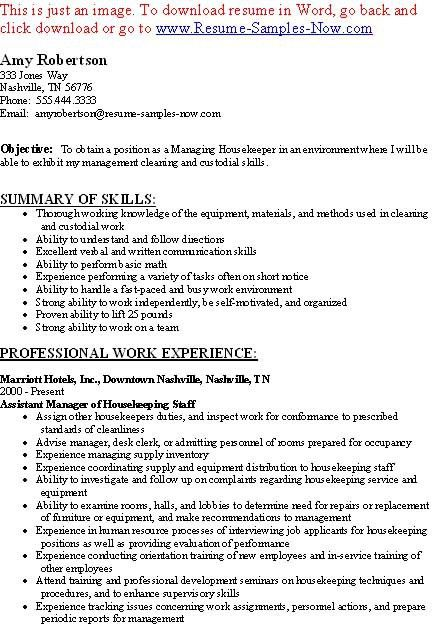 sample of resume for housekeeping hospital housekeeping job resume ...