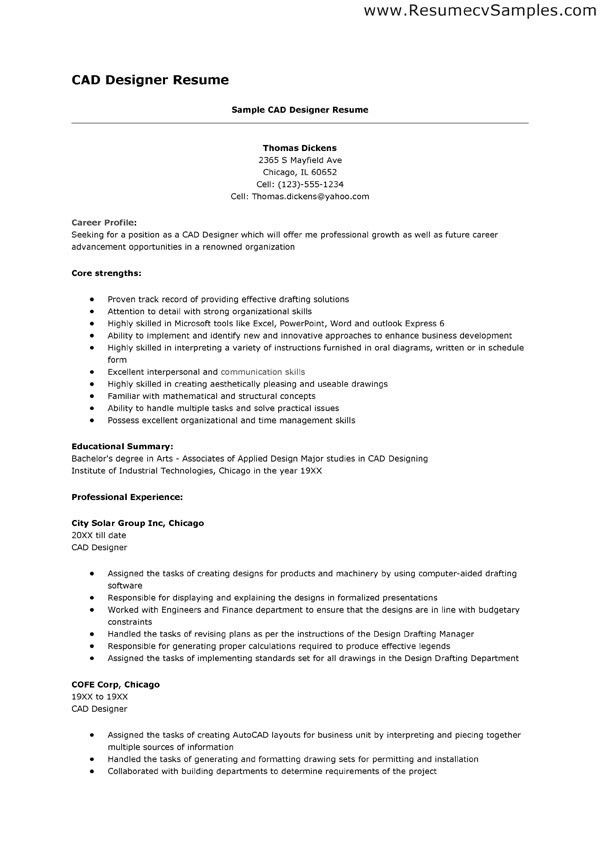 Cad Designer Resume, download cad engineer sample resume ...