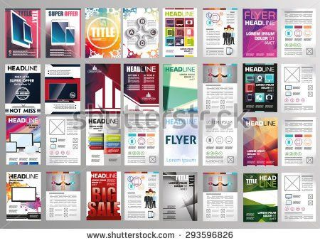 Vector Set Art Flyers Templates Brochures Stock Vector 293596826 ...