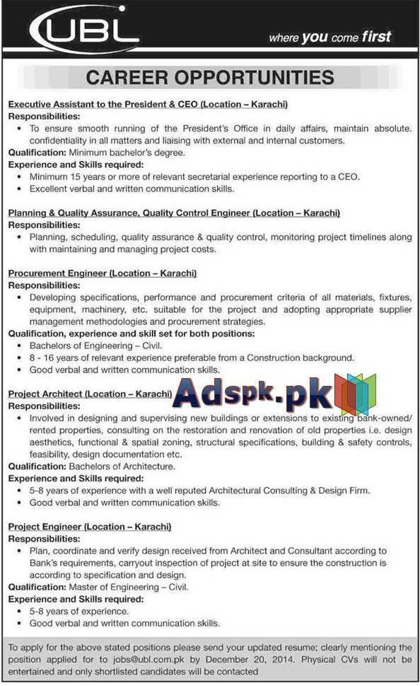 Jobs Open in UBL, United Bank Limited, Pakistan for Executive ...