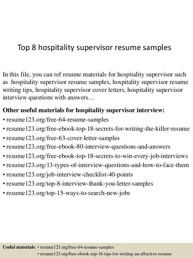 top 8 hospitality supervisor resume samples 1 638