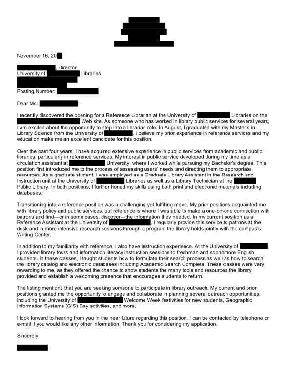 Open Cover Letters | Anonymous cover letters from hired librarians ...