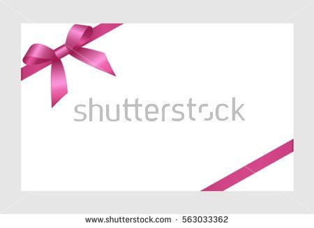 Gift Card Pink Ribbon Bow On Stock Vector 552922015 - Shutterstock