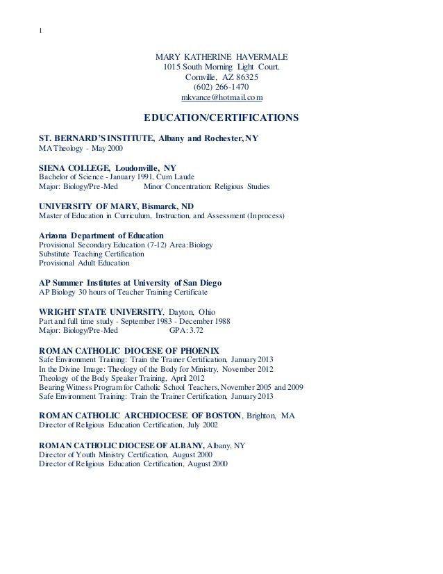 Mary Katherine Havermale resume 2015 parish