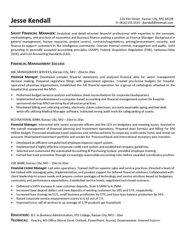 Manager Resume Objective Sample | Template Design