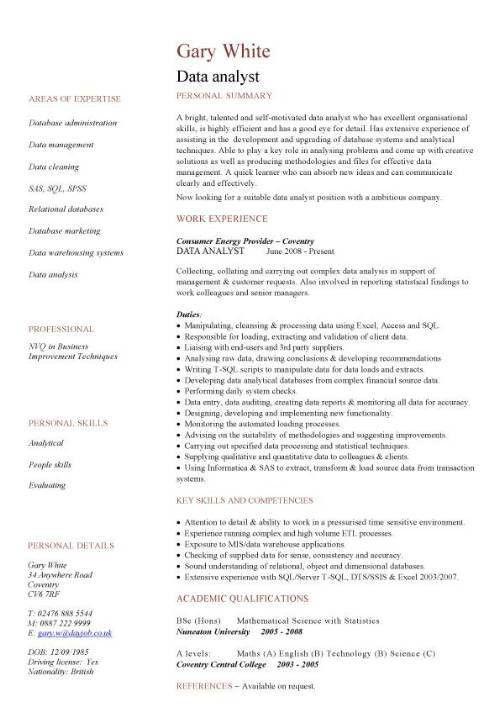 Data Analyst Resume Sample | berathen.Com