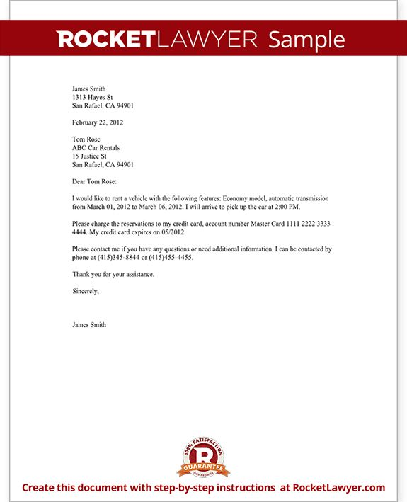 Confirmation of Reservations Letter (Template With Sample)